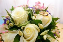 Wedding bouquet for the bride pink and white Stock Photo