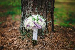 Wedding bouquet bride with purple flowers. Wedding details Royalty Free Stock Photo
