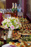 Wedding bouquet. Bouquet of the bride stands on the holiday table Royalty Free Stock Photos