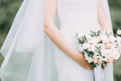Wedding bouquet of the bride. In table royalty free stock photography