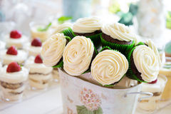 Wedding bouquet-cake made of cupcakes Stock Photos