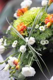 Wedding bouquet on car Royalty Free Stock Photos
