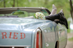 Wedding Bouquet in Car Royalty Free Stock Photo