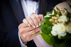 Wedding  bouquet on the car Stock Photography