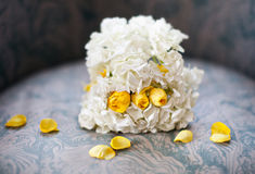Wedding bouquet on a chair Royalty Free Stock Photos