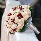 Wedding bouquet in church Stock Photos
