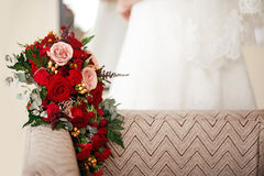 Wedding bouquet close up of red flowers roses gorgeous.  Copy space. Royalty Free Stock Photos