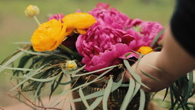 Wedding bouquet color Marsala Rustic style, Bohemian, boho style. Workshop stock video