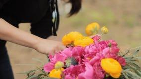 Wedding bouquet color Marsala Rustic style, Bohemian, boho style. Workshop stock footage