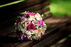 Wedding bouquet with colorful flowers Stock Photos