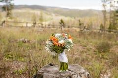 Wedding bouquet consisting of Echeveria, Dahlia, Freesia, mini Hydrangea, Ranunculus, and Silver Brunia Royalty Free Stock Photos