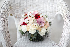 Wedding bouquet with cotton flowers Royalty Free Stock Photos