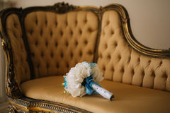 Wedding Bouquet on the couch. Wedding in Montenegro royalty free stock photo
