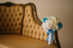 Wedding Bouquet on the couch. Wedding in Montenegro stock photography