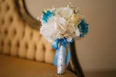 Wedding Bouquet on the couch. Wedding in Montenegro stock image
