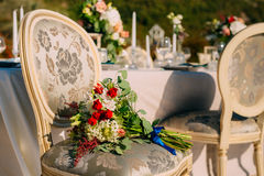 Wedding Bouquet on the couch. Wedding in Montenegro royalty free stock photos