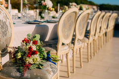 Wedding Bouquet on the couch. Wedding in Montenegro royalty free stock photography