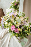 Wedding bouquet of cream roses on canvas cloth texture Royalty Free Stock Photo