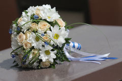 Wedding bouquet  cream roses and chamomile Royalty Free Stock Image