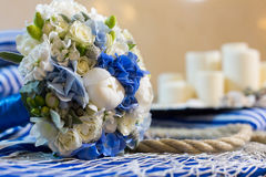 Wedding bouquet decoration. Wedding bouquet flower arrangement sein rope Stock Photography