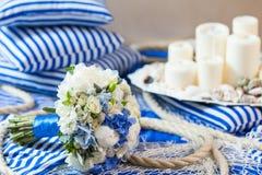 Wedding bouquet decoration. Wedding bouquet flower arrangement sein rope Royalty Free Stock Photos