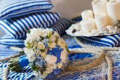 Wedding bouquet decoration. Wedding bouquet flower arrangement seine rope Royalty Free Stock Photo