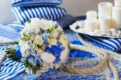 Wedding bouquet decoration. Wedding bouquet flower arrangement seine rope Stock Image