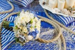 Wedding bouquet decoration. Wedding bouquet flower arrangement seine rope Royalty Free Stock Image