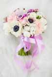 Wedding Bouquet with Delicate Peonies and Dahlias Stock Images