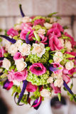 Wedding Bouquet with Delicate Peonies and Roses Stock Photos