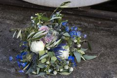 Wedding bouquet of dried flowers, eucalyptus, peony, dahlias and dolphinium Stock Images