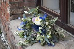 Wedding bouquet of dried flowers, eucalyptus, peony, dahlias and dolphinium Royalty Free Stock Photos