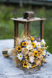 Wedding bouquet of dry flowers. Vintage wedding bouquet made of lavender,whet and sunflowers Royalty Free Stock Photo