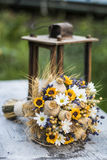Wedding bouquet of dry flowers. Vintage wedding bouquet made of lavender,whet and sunflowers Royalty Free Stock Image