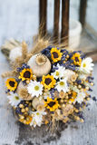 Wedding bouquet of dry flowers. Vintage wedding bouquet made of lavender,whet and sunflowers Royalty Free Stock Photos