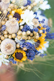 Wedding bouquet of dry flowers. Vintage wedding bouquet made of lavender,whet and sunflowers Stock Images