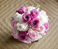 Wedding bouquet flower on bamboo table Royalty Free Stock Photo