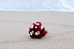 Wedding bouquet flower on beach Stock Photography