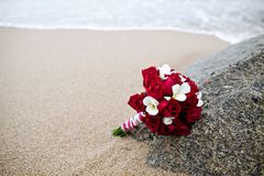 Wedding bouquet flower on beach Royalty Free Stock Photo