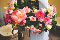 Wedding bouquet. Wedding flower bouquet with pink flowers Royalty Free Stock Photos