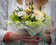 Wedding bouquet. Wedding flower bouquet with white and orange flowers Stock Image