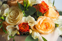 Wedding bouquet. Wedding flower bouquet with white red and orange flowers Royalty Free Stock Image
