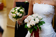 Wedding bouquet of flowers in hand of bride Stock Images