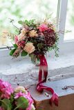 Wedding bouquet of flowers with hydrangea with a ribbon stock photography