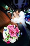Wedding bouquet of flowers in limo Stock Image
