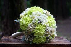 Wedding bouquet in gentle yellow and white tones. Bouquet with garden and field plants Royalty Free Stock Photography