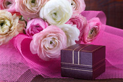 Wedding bouquet with gift box Royalty Free Stock Images