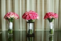 Wedding bouquet on glass table Royalty Free Stock Photo