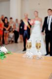 Wedding bouquet and glasses royalty free stock photography
