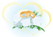 Wedding bouquet with gold rings Stock Photography